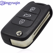 jingyuqin 10ps Uncut Blade 3 Buttons Flip Remote Key Shell Styling Fob For Hyundai I30 IX35 Kia K2 K5 Folding Remote Case Cover(China)