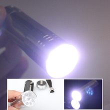 New Silver Mini LED Flashlight 9 LED Small Hand Torch Flashlights And Torches   --M25