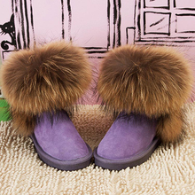 Fashion Top Quality Raccoon fur Snow Boots Women Boots Genuine Leather Winter Warm Snow Boots Ankle Boots Free Shipping