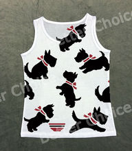 Track Ship+Vintage Vest Tanks Tank Tops Camis Simple Black Scottie Dog Red Scarf Playing with Bowl Food 0952