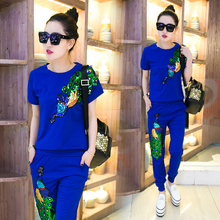 2016 summer women's casual suits female peacock trousers with sequins women's tracksuits Retro clothes woman 2 pcs sets 3xl