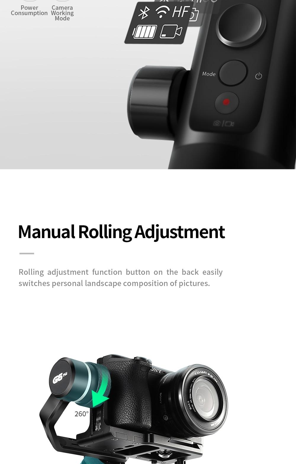FeiyuTech G6 Plus 3-Axis Handheld Gimbal Stabilizer for Mirrorless Camera Pocket Camera GoPro Smartphone Payload 800g Feiyu G6P 7