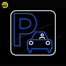2017 Neon Sign P With Car Parking Neon Light Glass Arcade Business neon Lamp Affiche handcraft personalized custom neon 17x17(China)