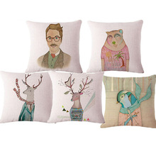 45*45cm Linen Nordic Mr Deer Office Snap Cushion With No filling Sofa Chair Seat Back Throw Pillow Car Coffee Animal Emoji(China)