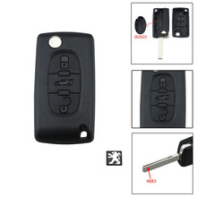 Remote Key Case Shell For peugeot 407 407 307 308 607 CE0523 HU83 Blade Key Cover 3 Buttons With Logo