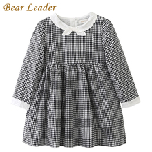 Bear Leader Girls Dress 2017 Brand Plaid Princess Dresses Autumn Style Long Sleeve Black Plaid Design for Children Clothing 3-7Y(China)
