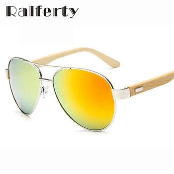 Ralferty piloto óculos de sol de madeira de design da marca das mulheres dos homens de condução espelho óculos de sol uv400 ouro original esportes óculos de sol de bambu masculino