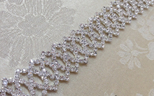 Beautiful 1 Yards Fancy Bridal Dress Decorative Trim,Wedding Cake Silver Rhinestone Banding Trim