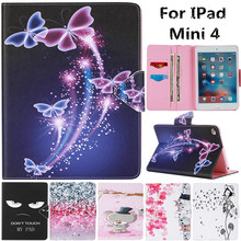 For IPad Mini4 Cute Cartoon Dream Butterfly Flower Cat Bear Stand Leather Coque Fundas Case For Apple IPad Mini 4 Tablet Cover