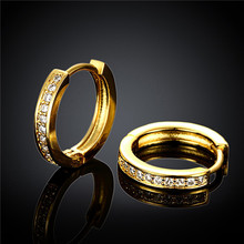 Sale gold colour small hoop earrings with swisss clear CZ Elegance style design jewelry Hot high quality engagement gift