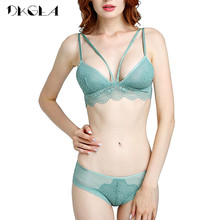 Buy Green Underwear Set Sexy Brassiere Ultrathin See Bra Panties Sets Lace Embroidery Transparent Bras Women Lingerie Set