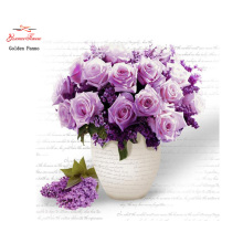 Gloden Panno,5D,Full,DIY Diamond Embroidery,square,Diamond Painting,Cross Stitch,3D,Diamond,Mosaic,Needlework,Purple Flower