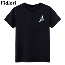Fidiori 2017 Summer new casual Brand men 's short - sleeved T - shirt white crane printed cotton tide T-shirts.(China)