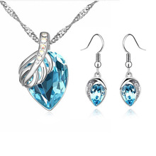 New fashion wedding jewelry set rhinestone crystal Water Drop pendant necklace earring Top quality gift for women ladie's
