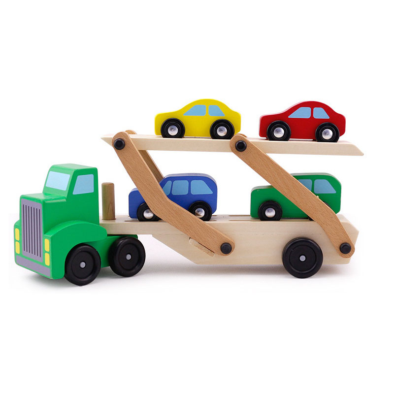 Wooden toys children transport trucks tractor toy double-layer model classic toys small gift boy