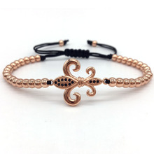 2017 Famous Brand Pave CZ Lily Flower Charm Bracelets For Men Or Women New Braided Macrame  Bracelets Jewelry Luxury Gift