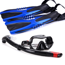 Diving Swimming Scuba snorkeling kit with fins Snorkel diving Mask Lens PC Flippers M L XL Gear Kit(China)