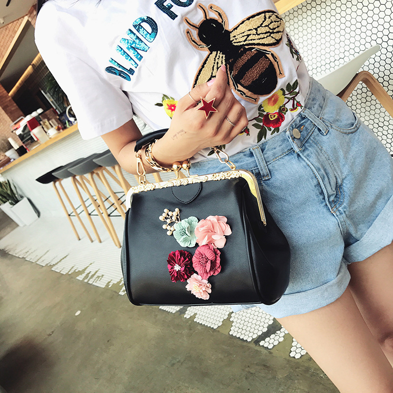 THREEPEAS fashion women bag pu leather women shoulder bag floral womens messenger bag for party<br>