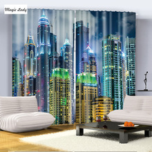 Modern Megapolis Decor Collection Building Night City Lights Living Room Bedroom Curtain 2 Panels Green Blue Yellow Turquoise