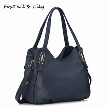 FoxTail & Lily Genuine Leather Bag for Women Luxury Brand Designer Real Leather Handbags Ladies Casual Shoulder Messenger Bags(China)