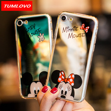 Mirror Cartoon Mickey Minnie Case iPhone X 8 7 6 6S Plus 5 5S 5SE Samsung Galaxy S8 Plus Plating Soft Phone Cases Fundas