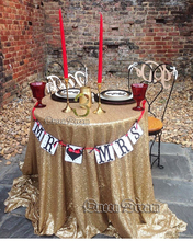 "matte gold 120"" round Sequin TableCloths Wedding Table cloth Sequin Elegant Handmade Table Cover(China)"