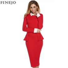 Top Quality Plus size M-XXL OL Style Women Lady Long Sleeve Doll Collar High Waist Peplum Sexy Bodycon Solid Formal Dress