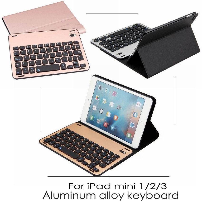 Bluetooth Keyboard Tablet Case For iPad Mini2 Mini3 Mini4 Wireless High-Quality Ultra thin Aluminum Alloy Keyboard Case cover <br><br>Aliexpress