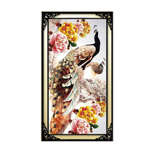 Peony Flower Peacock 5D Diamond Embroidery DIY Painting Cross Stitch Wall Decor 30cm*55cm-Y102