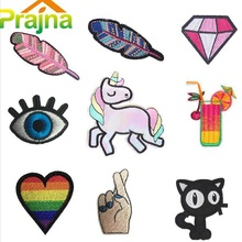 1PCS Heart Unicorn Patch Food Cheap Embroidered Cute Patches Hippie Iron On Cartoon Patches For Clothing Letter Fruit Patch Cool(China)