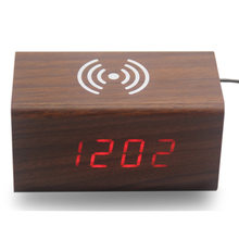 Wireless Led Wood Cube Clock Digital Desk Alarm Clock Wireless QI Charging for Phone Thermometer Calendar Electronic Desk Clock