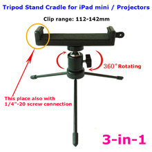 3 in 1 Small Tablet pc 360 degree Rotating Ball Head Selfie Stick Desktop Tripod Stand Cradle Clip mount adapter for iPad mini