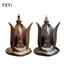 T Creative Smoke Backflow Incense Burners Guanyin Lotus Flower Out Ceramic Tower Cone incenses Censer Home decoration