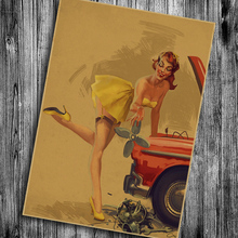 Classic Car Girl Wall Sticker Vintage Retro Poster Kraft Paper For Living Room Bedroom Cafe