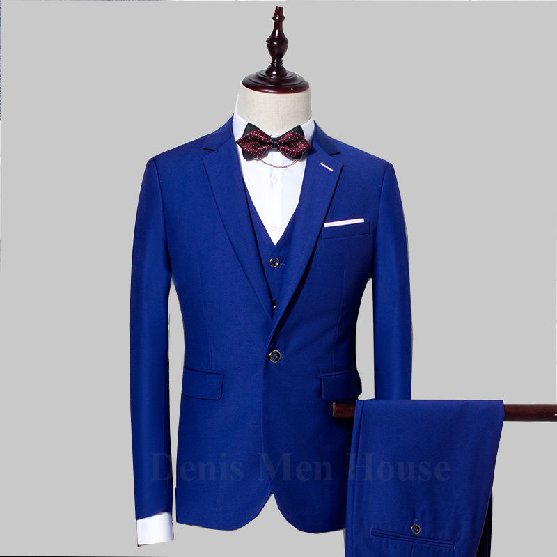 2018 Business Men Slim Fit Suits Groom Tuxedos Royal Blue Groomsman Men Wedding Suits Bridegroom Prom Tuxedo (Jacket+vest+Pant)
