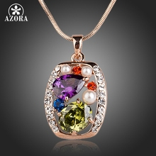 AZORA Rose Gold Color Multicolor and Multishape CZ Pendant Necklace TN0128