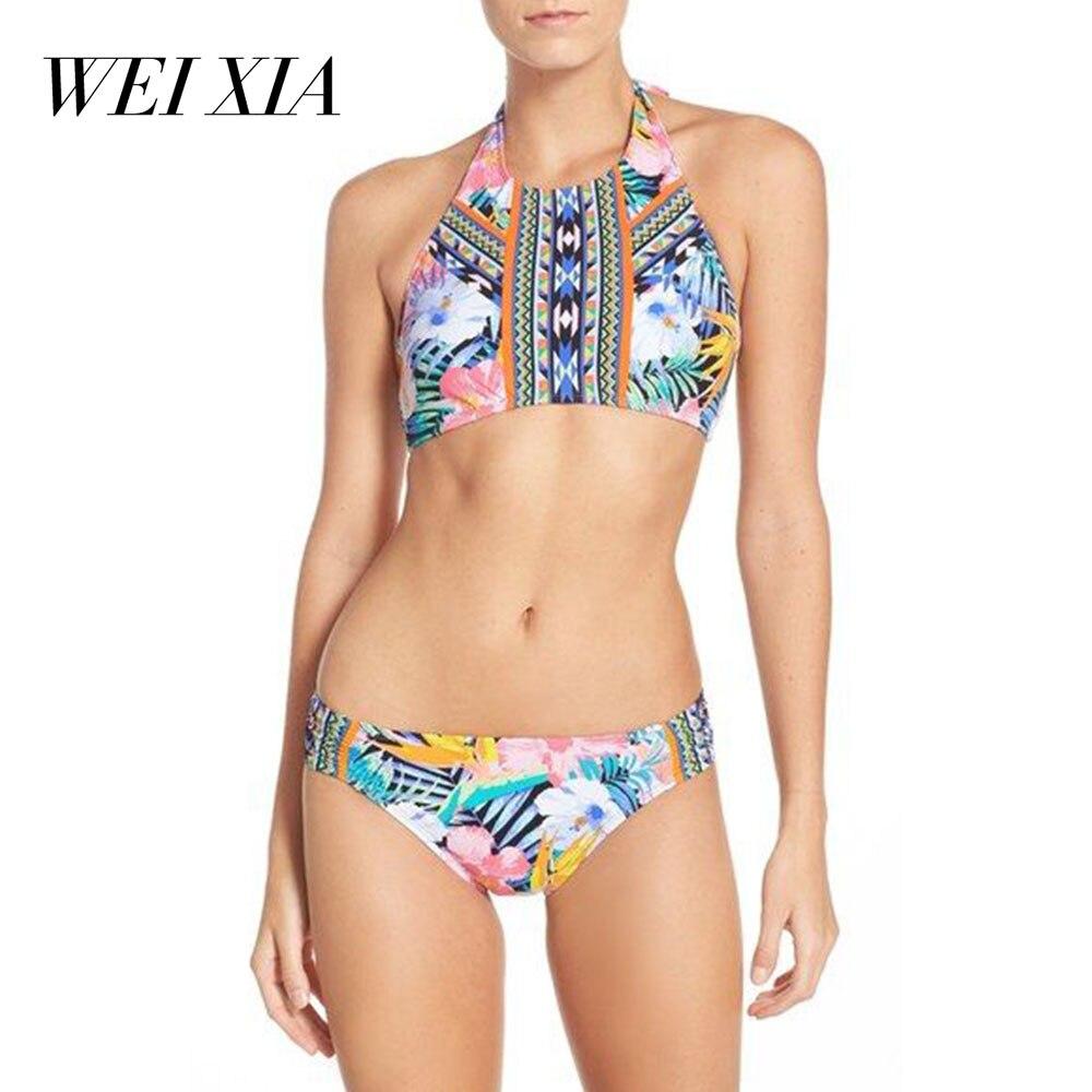 WEIXIA  2018 New arrivial  swimwear women Bandage Bikini 17071 Sets Push Up Bra Swimsuit Brazilian Bathing Swimming suit<br>