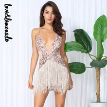 Love&Lemonade Sexy Gold Flower Vines Sequined V Collar Exposed Tassel Bodycon Party Dress  LM0048