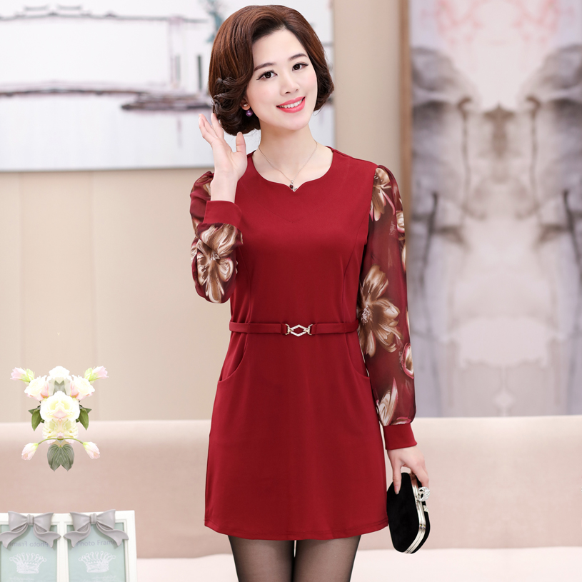 fashion Middle-age women spring autumn chiffon long-sleeve medium-long shirt mother clothing medium-long slim one-piece dress