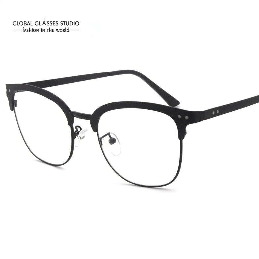 Round Lens Ultra Thin Metal Eyeglasses Retro Rivet Shape Optical ...