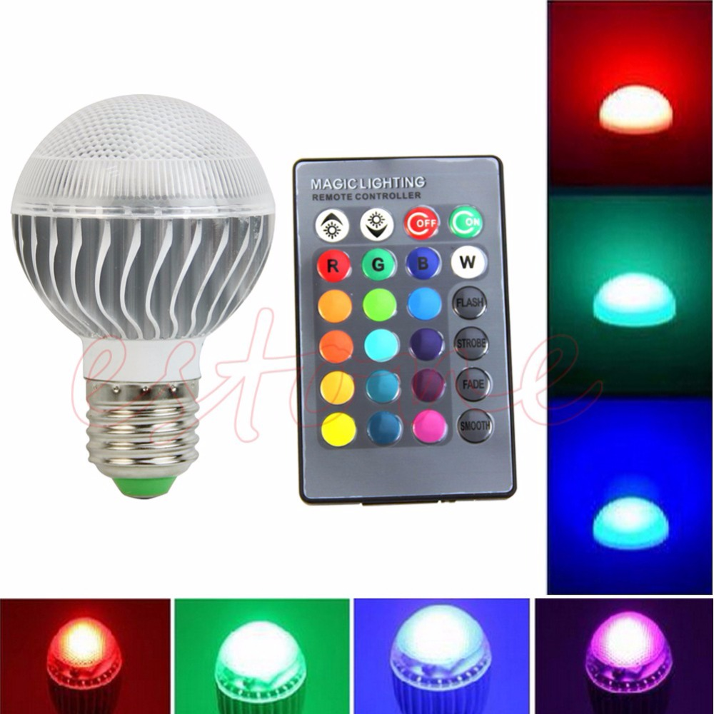 E27 15W RGB LED Lamp Color Changing Light Bulb With Remote Control 85-265V<br><br>Aliexpress
