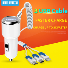 [3 USB Ports Cable] MEIDI Car Charger 7.2A Fast mobile phone charger With 1m  Cable For iPhone7 SamsungS7 Xiaomi Type C in Stock
