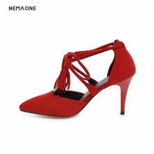 NEMAONE 2017 sexy lace up women shoes high heels shoes woman poined toe ladies dress shoes party wedding shoes large size 34-43(China)
