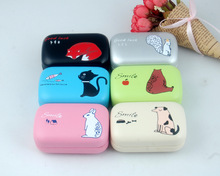 LIUSVENTINA cute animal cat dog rabbit fox Squirrel companion box leather box 6 types contact lens case lenses container