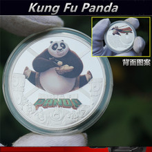 Kung Fu Panda Commemorative Coins 3D-Color Silver 40mm Souvenir Coin With Round Box+Seal Small Bag