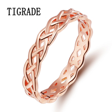 4mm Romantic Rose Gold 925 Sterling-silver-jewelry Celtic Knot Ring Eternity Band Engagement Wedding Rings For Women anle Sale(China)