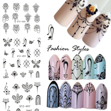 1PCS Popular Black Sticker Nail Art Necklace Jewelry Cat Butterfly Pendant Manicure Tips Nail Water Transfer Decals CHSTZ497-500(China)