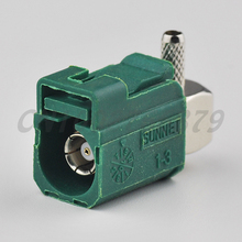 RF electrical Fakra E crimp Jack connector right angle Green for Green /6002 Car TV1 for RG316 RG174 LMR100