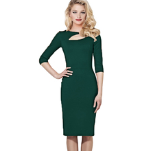 2017 Women Solid Autumn Sexy Vintage Office Casual DresSkirt Half Sleeve Hollow out Evening Party Bodycon Midi Pencil Dres Skirt