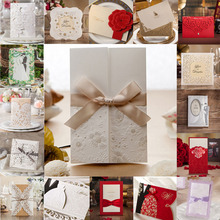 24 Style 1pcs Sample Wedding Invitations Card Hollow Lace Elegant Flora Flower Envelope Seal Business Card Casamento Party Decor(China)